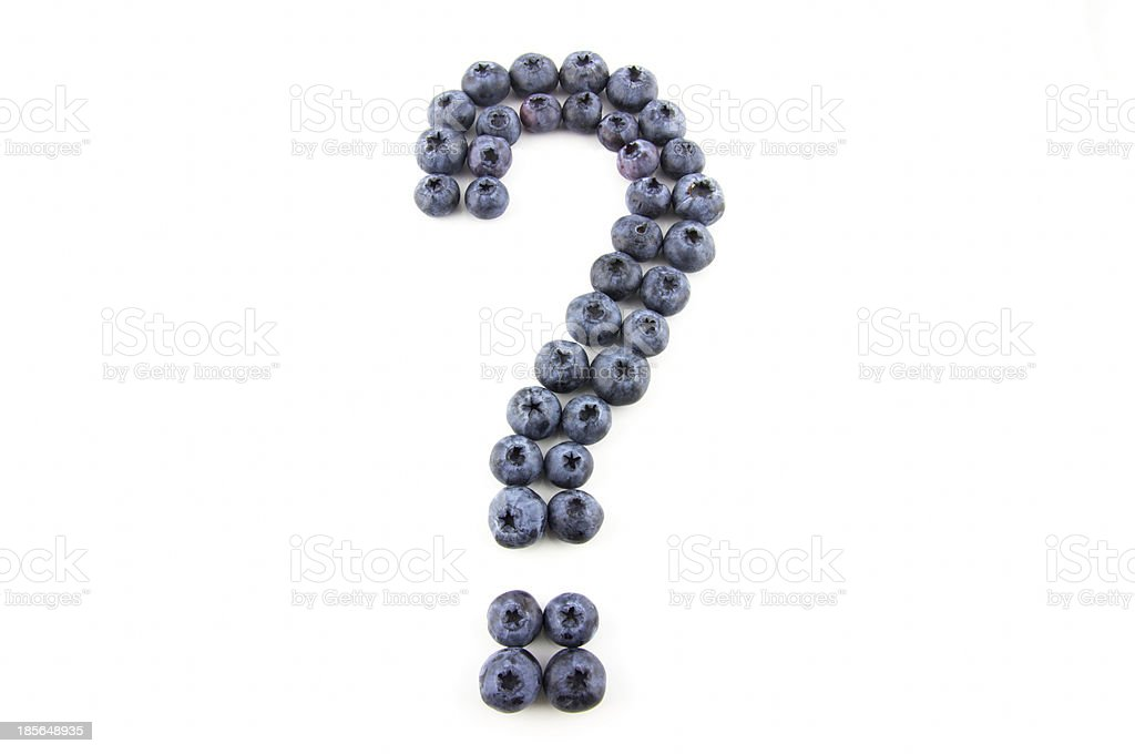 Question mark concept made of fresh blueberries stock photo