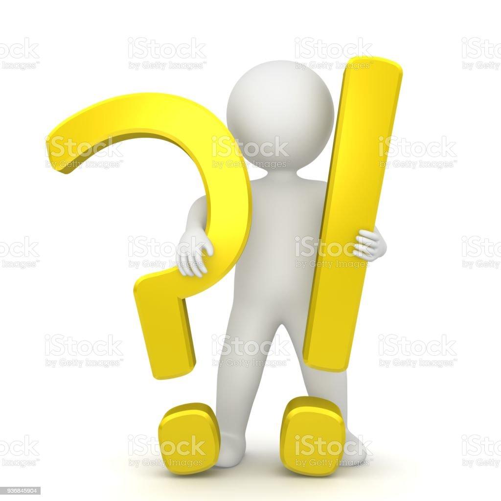 vraagteken uitroepteken 3d gouden gele ondervraging leestekens stok figuur man persoon staande problemen en oplossing vragen beantwoorden teken symbool pictogram sjabloon geïsoleerde uitgesneden op witte achtergrond foto