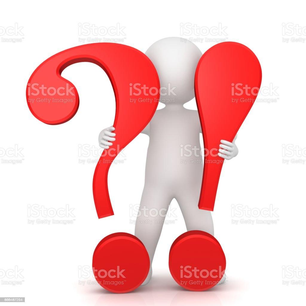 Fragezeichen Ausrufezeichen 3d Rote Zeichen Symbol Symbol Für Frage ...