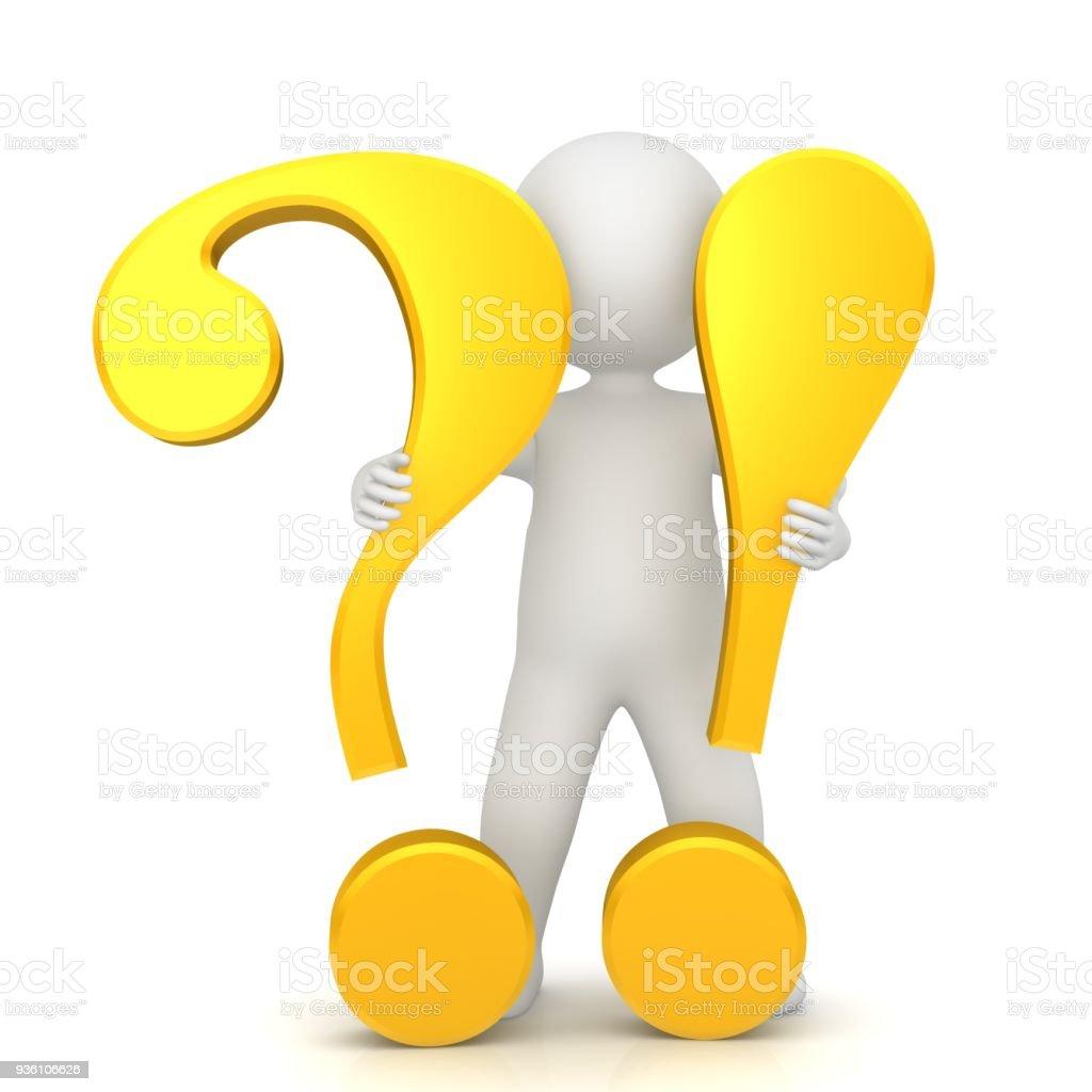 vraagteken uitroepteken 3d geel goud teken symbool pictogram ondervraging punt voor vraag en antwoord of probleem en oplossing met staande stick man figuur persoon uitgesneden geïsoleerd op witte achtergrond foto