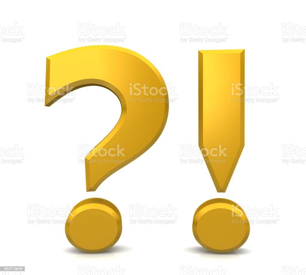 vraagteken uitroepteken geel goud 3d uitroepteken ondervraging punt vraag en antwoord of probleem en oplossing ondertekenen symboolpictogram geïsoleerd op witte achtergrond foto