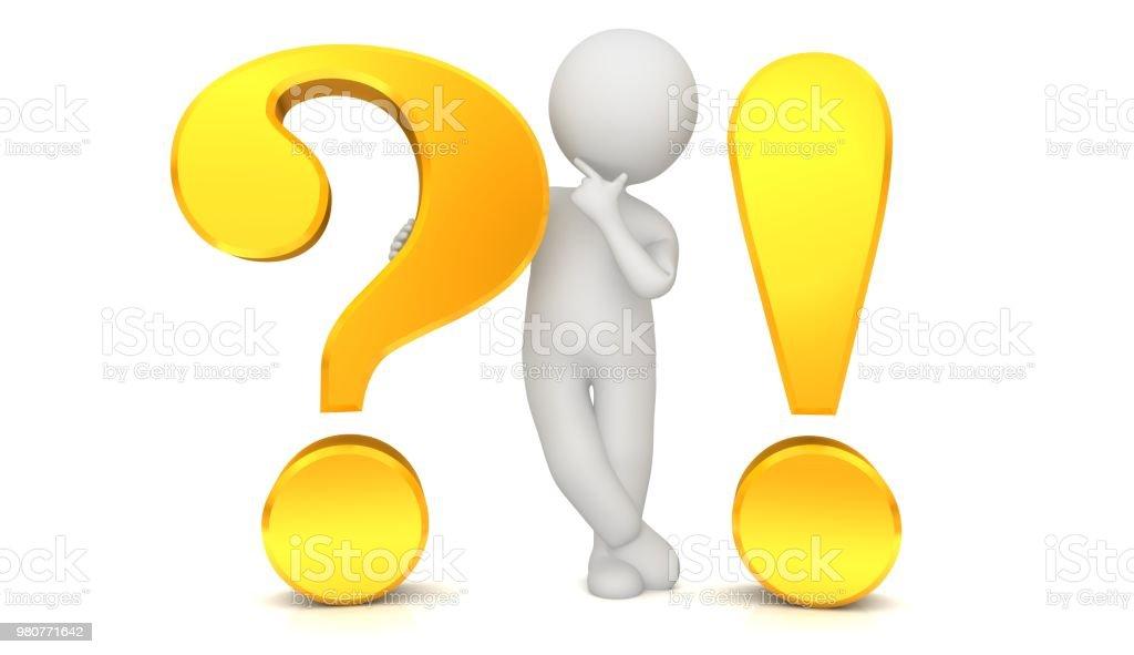 vraagteken uitroepteken 3d goud gele ondervraging punt gevraagd denken stokmens erachter te brainstormen persoon mensen met idee probleem en oplossing of vraag en antwoord sjabloon geïsoleerd uitgesneden op witte achtergrond foto