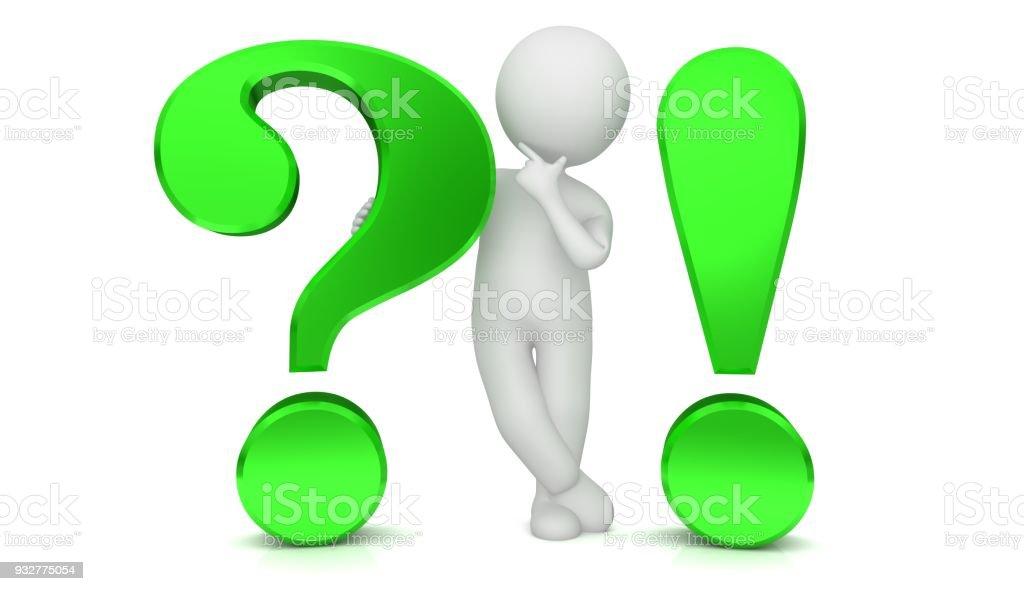 Fragezeichen Ausrufezeichen 3d Grün Verhör Punkt Fragen Denken Stick ...