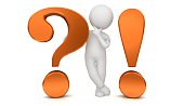 question mark exclamation point 3d orange interrogation point asking thinking stick man figure brainstorming person people with idea problem and solution or question and answer template isolated cut out on white background