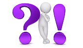 question mark exclamation point 3d purple interrogation point asking thinking stick man figure brainstorming person people with idea problem and solution or question and answer template isolated cut out on white background
