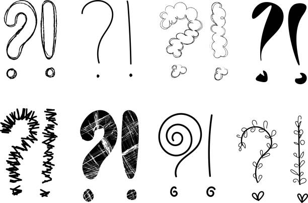 question mark exclamation point q and a asking answering sign symbol icon illustration drawing stock photo