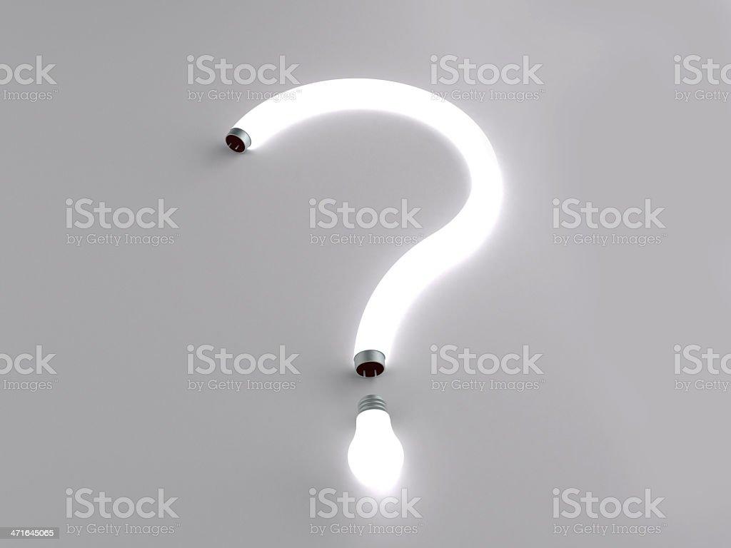 question mark fluorescent lamp stock photo