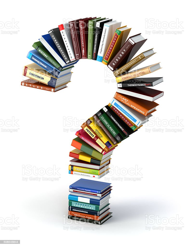 Question mark from books. Searching information or FAQ edication stock photo