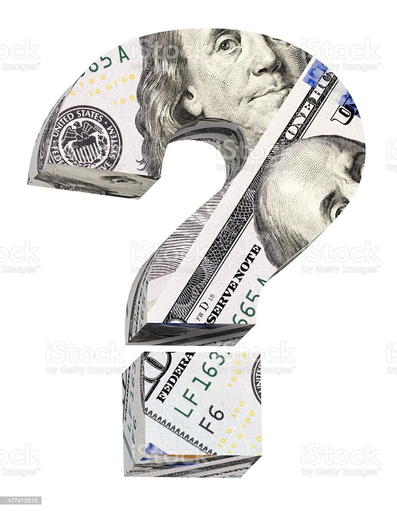Question mark from dollar bill alphabet set isolated over white. stock photo