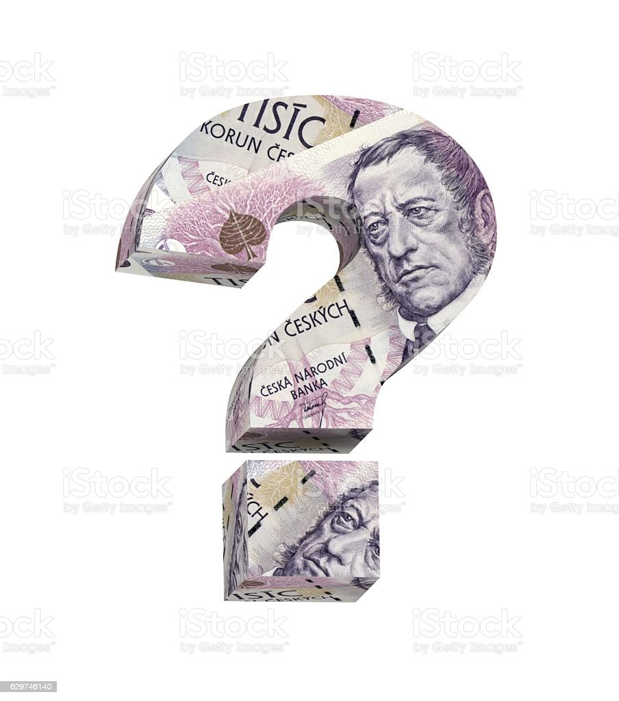 Question mark from jersey pound bill isolated over white. stock photo