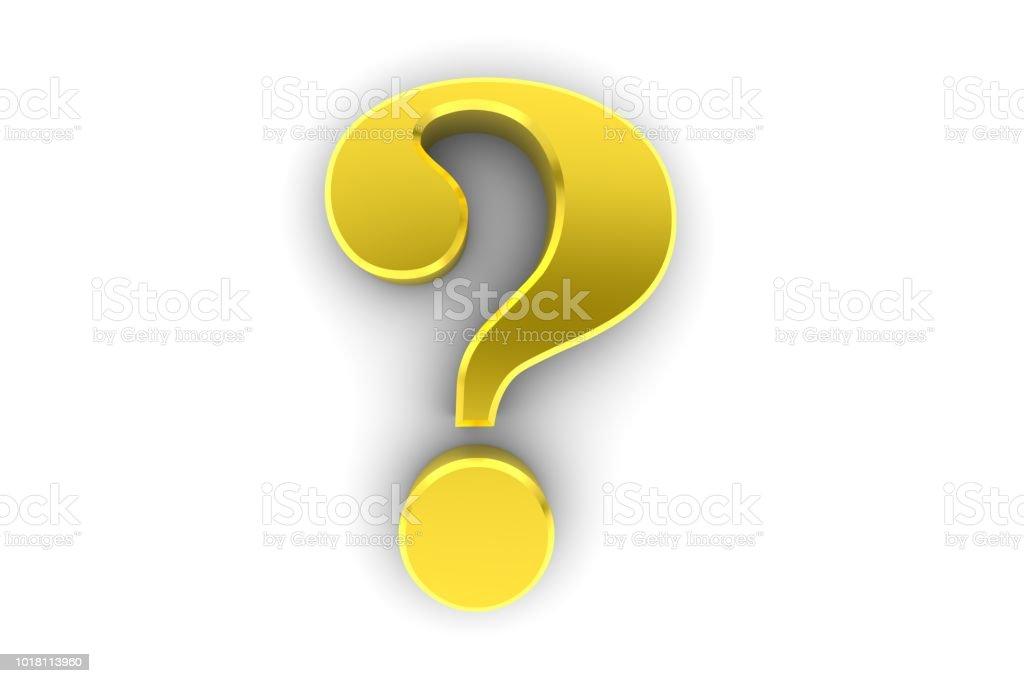 vraagteken goud 3d gevraagd teken symbool ondervraging punt pictogram geïsoleerd op witte achtergrond foto