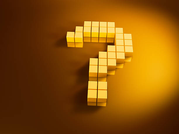 Question Mark Golden Cubes 3D Render of a question mark symbol with pixelated golden cubes. Very high resolution available! Use it for Your own composings!Related images: golden cube stock pictures, royalty-free photos & images