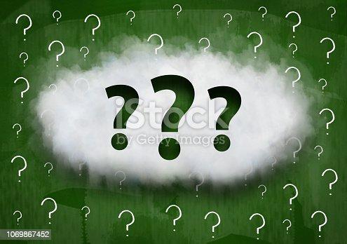 istock Question mark / Green board concept (Click for more) 1069867452