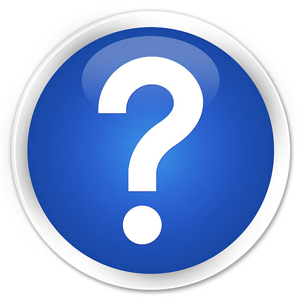 Question mark icon blue glossy round button stock photo
