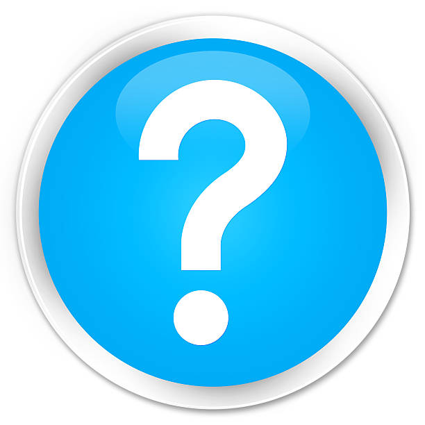 Question mark icon cyan blue glossy round button stock photo