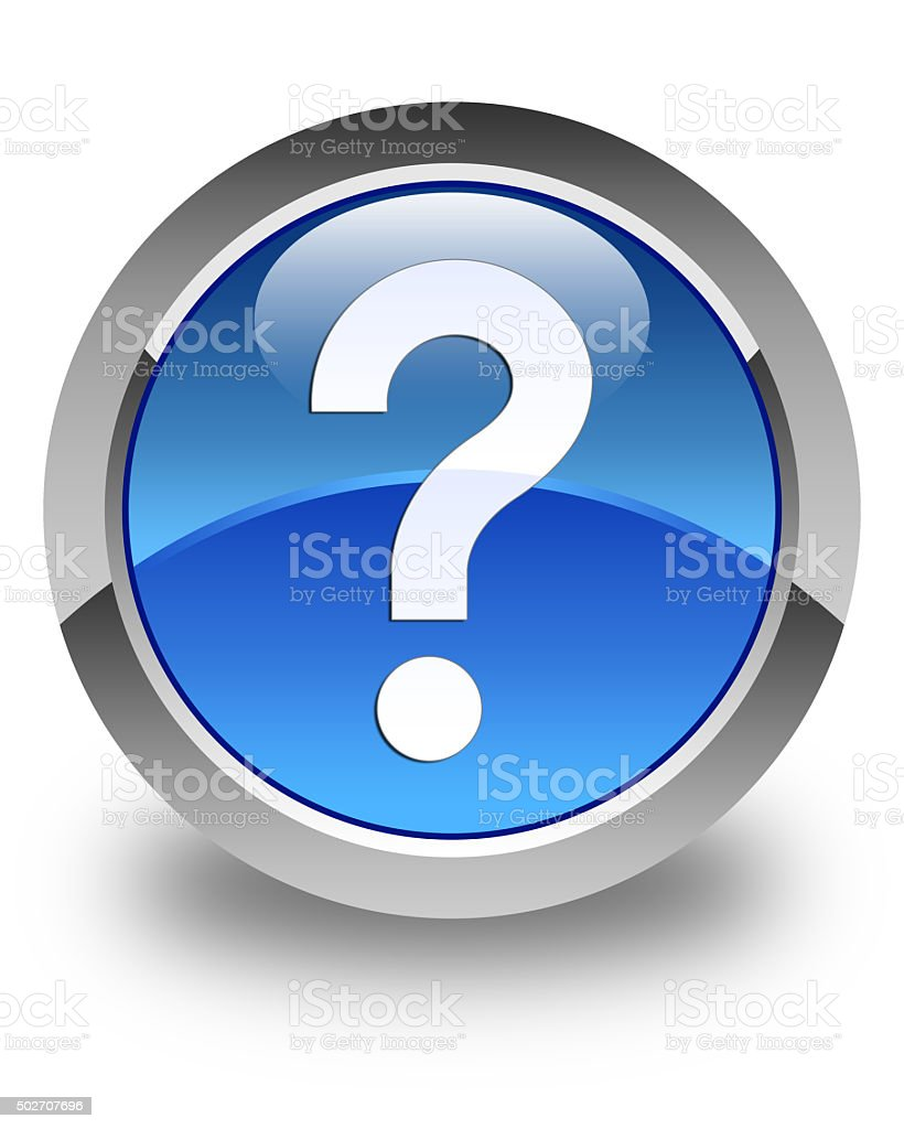 Question mark icon glossy blue round button stock photo