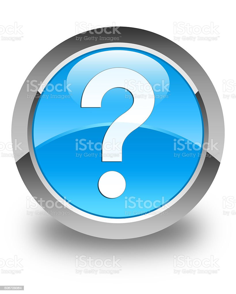 Question mark icon glossy cyan blue round button stock photo