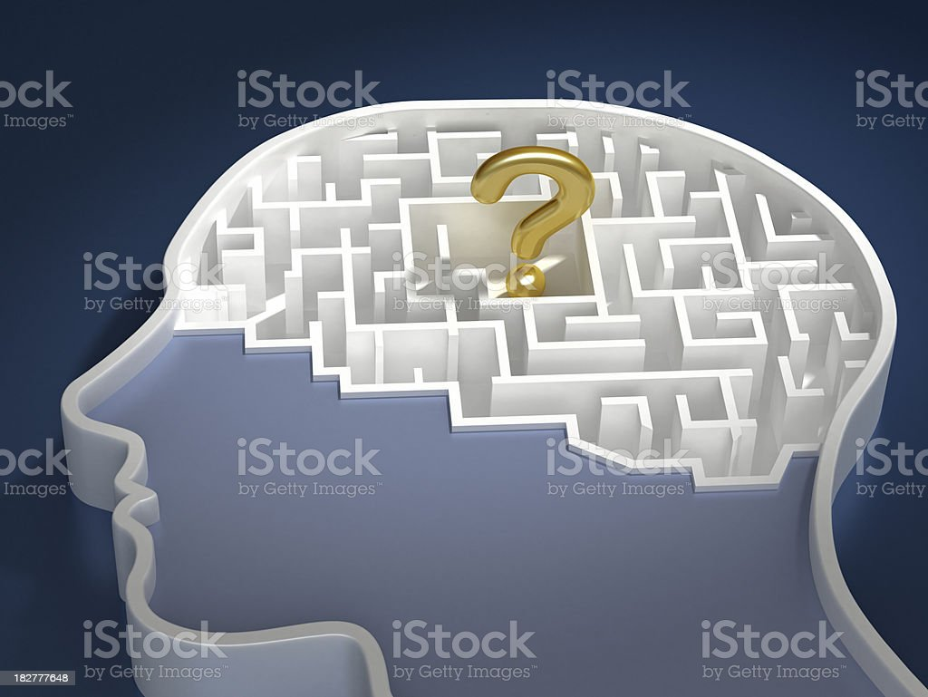 Question mark in brain royalty-free stock photo