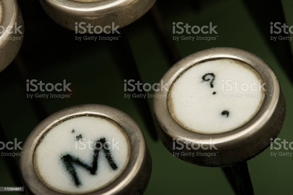 Question mark in old typewriter royalty-free stock photo