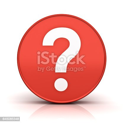 istock Question mark in red sign circle 645085348