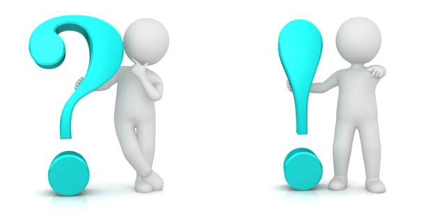 question mark interrogation point exclamation point mark 3d turquoise sign symbol icon q and a problems and solution illustration with white standing stick figure men person people isolated on white background stock photo