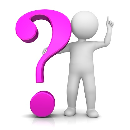 question mark interrogation point pink 3d asking sign punctuation mark stick figure man person people pointing hand finger up isolated cut out on white background