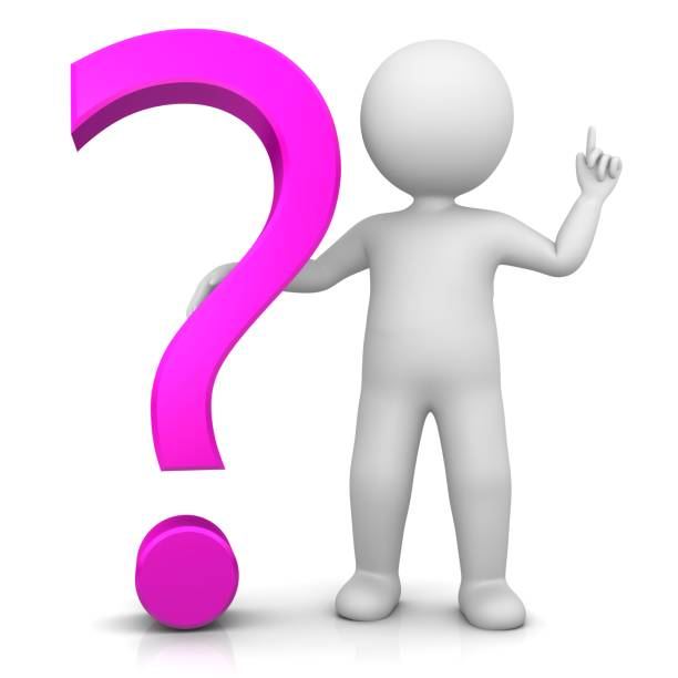 question mark interrogation point question sign punctuation mark 3d pink stick man pointing up raising hand isolated on white stock photo