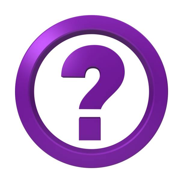 question mark interrogation sign symbol asking icon purple 3d render graphic isolated on white background stock photo