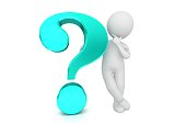 question mark learning searching thinking man asking man with light blue 3d interrogation point punctuation mark isolated on white background