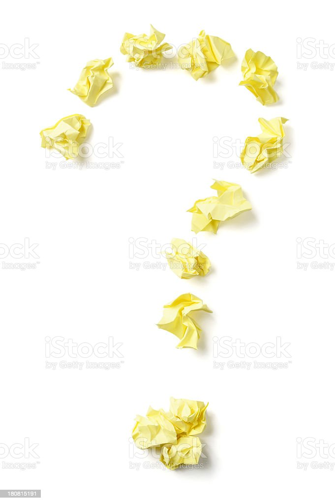 Question Mark Made With Crumpled Paper royalty-free stock photo