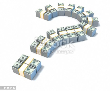 Stack of dollars arranged in Question mark form. Investment and money concept. High quality 3D render.For more money and finance images: