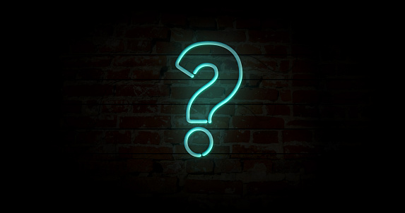istock Question mark neon sign 1084098656