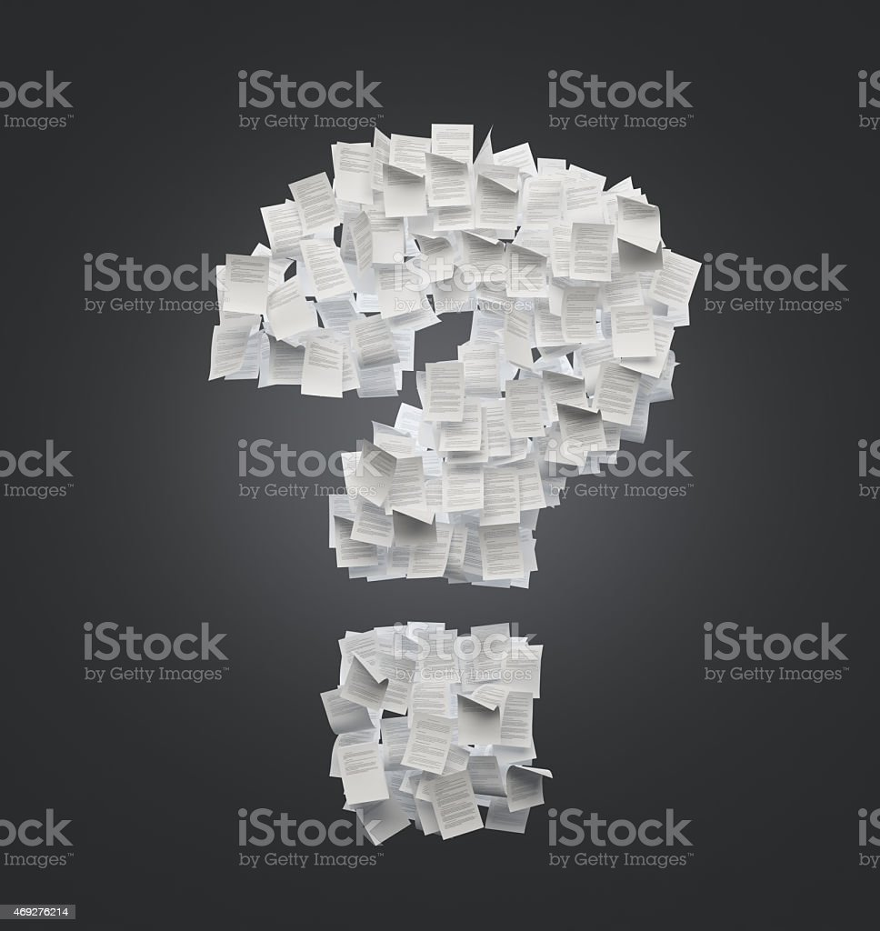 question mark of sheets stock photo