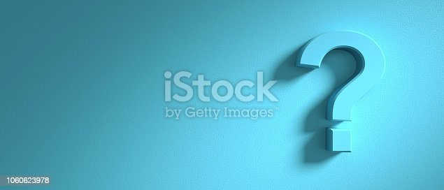istock Question mark on blue wall background, banner, copy space. 3d illustration 1060623978