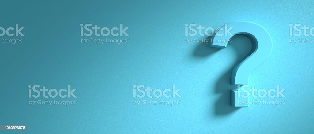 Question mark on blue wall background, banner, copy space. 3d illustration stock photo