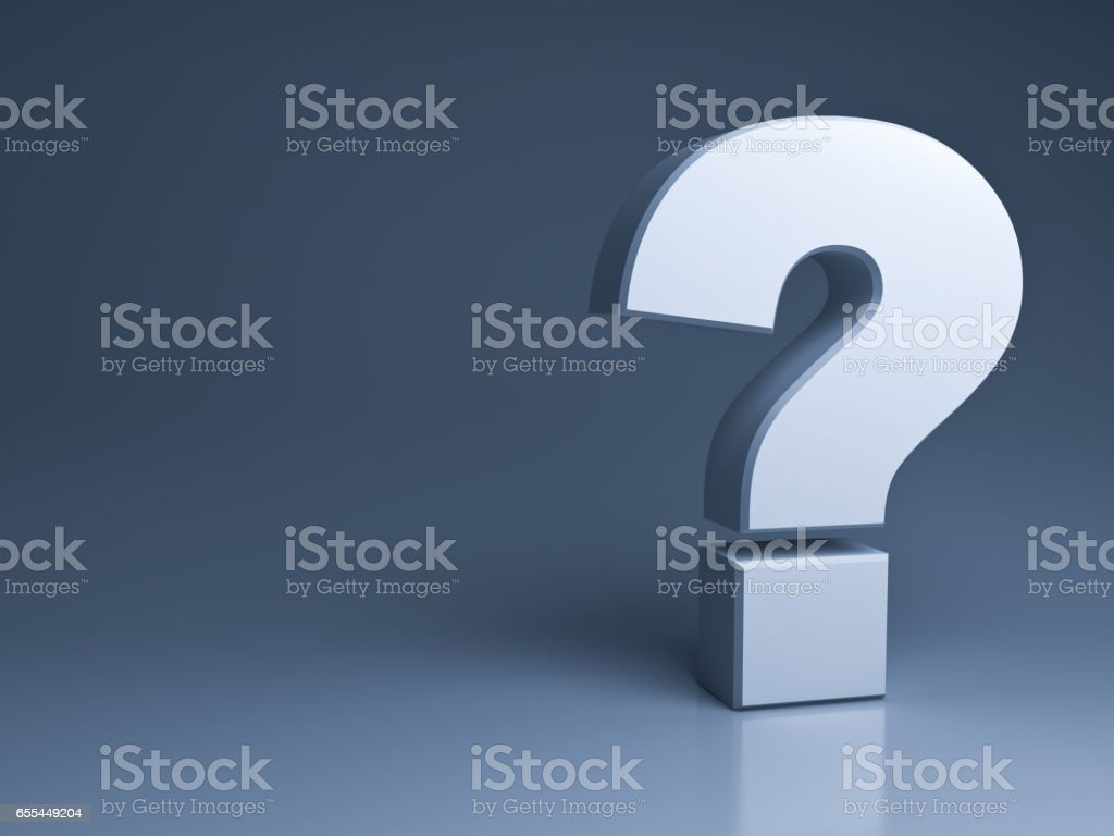 Question mark on dark grey background with shadow and reflection 3D rendering stock photo