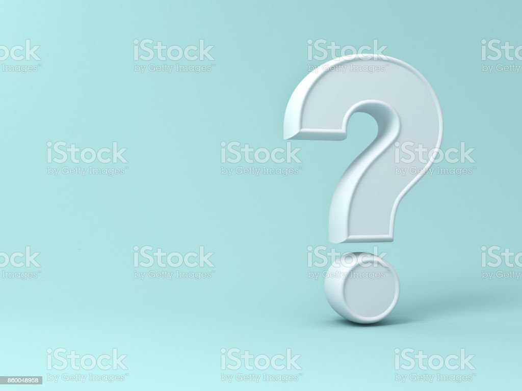 Question mark on green pastel color background with shadow and blank space . 3D rendering stock photo