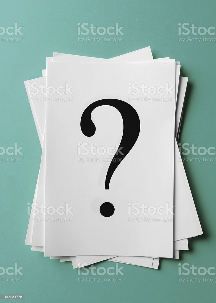 Question mark on paper royalty-free stock photo