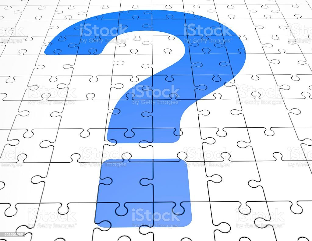 question mark on puzzles background stock photo