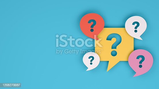 3d rendering of question mark on speech bubble. Brainstorming, business concept.