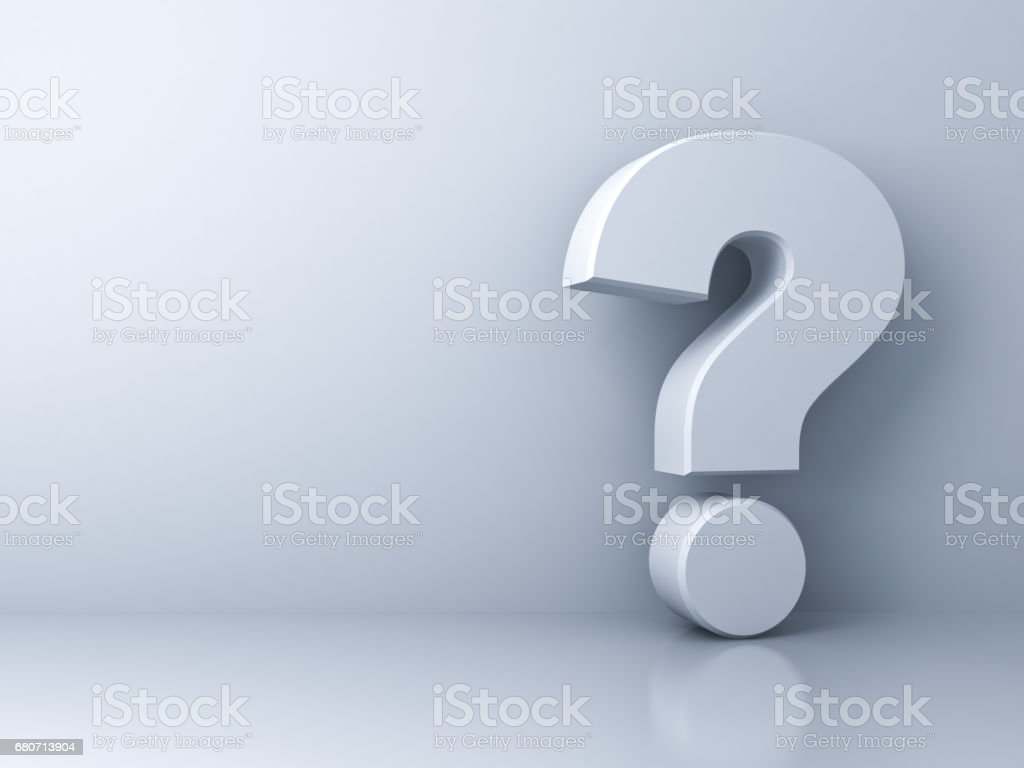 Question mark on white background with shadow and reflection . 3D render stock photo
