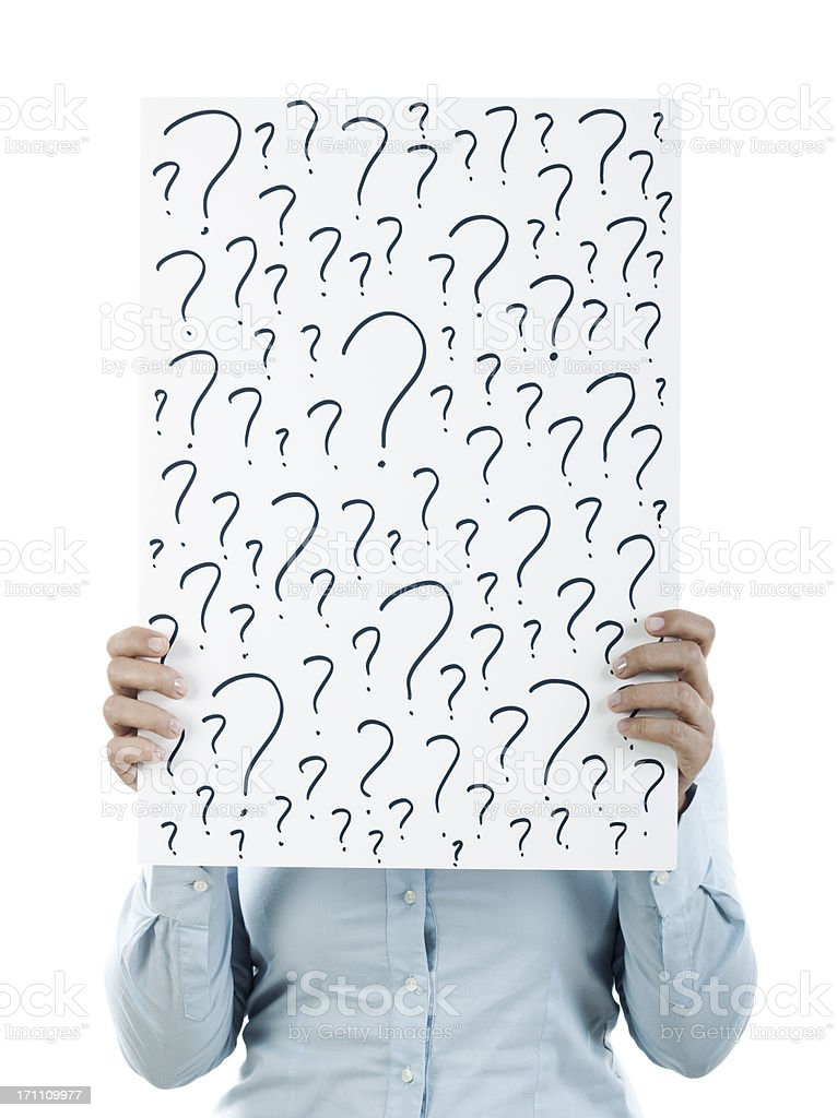 question mark placard stock photo