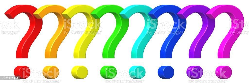vraagteken rood oranje geel goud groen cyaan turquoise blauw paars lila roze ondervraging punt 3d vragen ondertekenen query symbool geïsoleerd op een witte achtergrond in hoge resolutie voor het bedrijfsleven en print foto