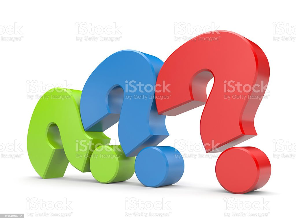 3D question mark signs leaning against each other royalty-free stock photo