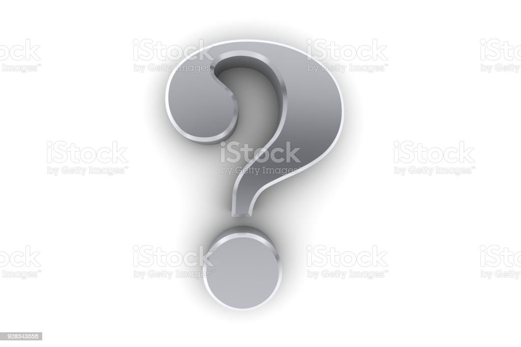 question mark silver 3d interrogation point punctuation mark ask sign symbol query search icon cut out white background stock photo