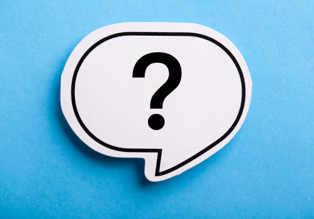 Question Mark Speech Bubble Isolated On Blue stock photo