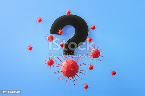 Question mark symbol surrounded by red viruses on blue background, Horizontal composition with copy space. Health and COVID-19 concept.