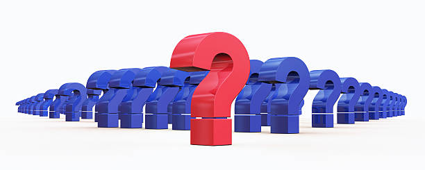question mark symbols 3D rendering stock photo