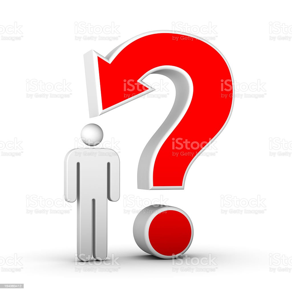 question mark with arrow and man stock photo