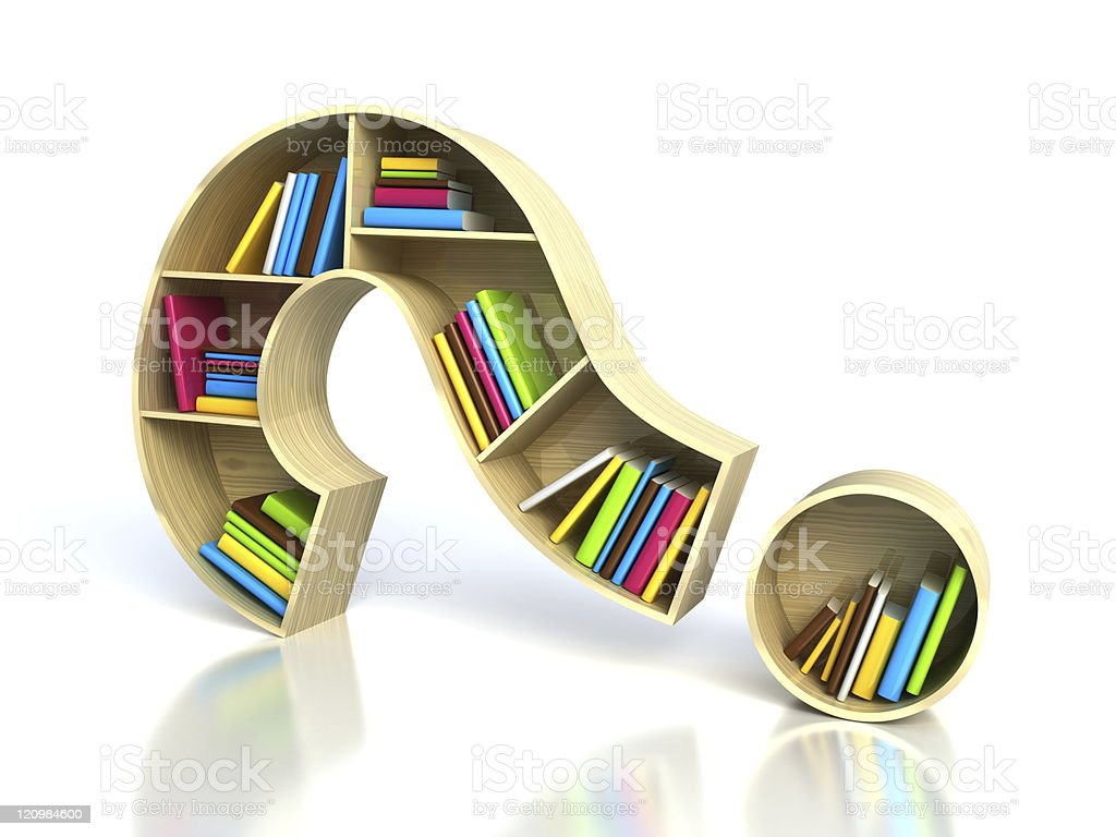 Question mark with books stock photo